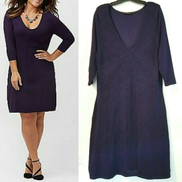 69e25cc2bd64 Lane Bryant Dresses & Skirts - 14/16 Lane Bryant Purple Pointelle Sweater  Dress
